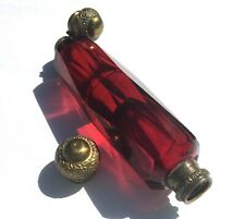 RARE Antique Victorian English Ruby Glass Double Scent Perfume Bottle Repousse