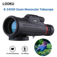 Looku 8-24x50 Zoom Monocular Telescope BK7 FMC Prism for Camping Hiking Hunting