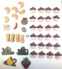 Lot 42 Refrigerator Magnets Food Cupcakes Pretzels Shells Croissants Kitchen