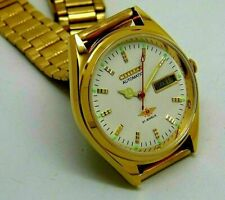 Citizen Automatic Men Gold Plated Day Date Vintage Movement No 8200 Watch sq6