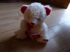 """Soft Toy - White Bear with Red Hearts """"I Love You"""""""