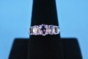 5-Stone Sterling Silver Amethyst Ring by AVON - Size 10 - NEW - NO Box