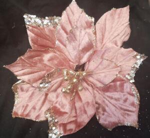 3 x Rose Gold Poinsettia Flower Clip On Pick Christmas Decoration 22cm Gold Edge