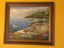 Original Rossini Oil Painting on Canvas Coastal Italian Villa Seascape Sailboat