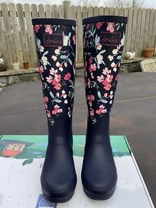 Joules Size 7 Navy With Pink Flowers Tall Wellies - Beautiful Pattern - New!