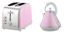 1.8L Cordless Electric Swivel Kettle & Two Slice Wide Slot Bread Toaster Pink UK