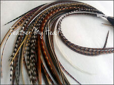 50 NATURAL LONG MIX WHITING GRIZZLY SADDLE FEATHER HAIR EXTENSIONS LOTA