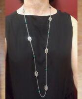 Long collier argenté cristal Swarovski vert, rouge, sautoir argenté en cristal