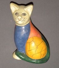 "Vintage Art Deco ""Cracked"" Painted Cat Figurine 7"" Clay"