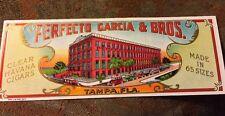 PERFECTO GARCIA & BROS TAMPA FLA Clear Havana Cigar Box End Label Embossed
