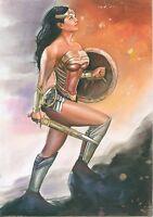 A00637 realistic Wonder Woman by Cliff *NOT A PRINT* original art drawing comics