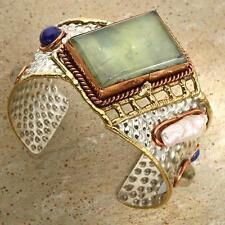 New Tara Mesa Prehnite & Lapis Lazuli Hammered Silver Cuff Bracelet