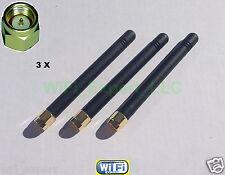 "3 x HIGH GAIN 2dBi 900/1800 MHz SMA Male Plug Straight GSM GPRS Antenna 3"" USA"