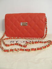 NWT St John knit handbag red poppy quilted leather