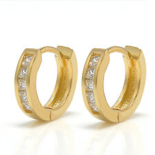 Men's 2Pcs Stainless Steel Women Rhinestone Crystal Huggie Hoop Studs Earrings
