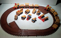 Vintage 1972 Mattel Train Track Wooden Motor Putt Putt Railroad Buildings Toys