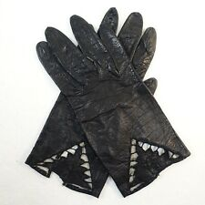 """Vtg. Black Real Kid Leather Gloves Sz. 7 Graphic Cutouts Italy 8"""""""