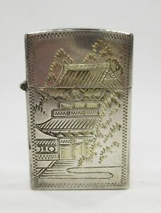 Vintage Flip Top Lighter in Sterling Silver Japanese Pagoda Waterfall Case