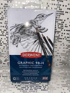 Derwent Graphic 9B-H Soft Graphite Professional Quality Set of 12 Brand New