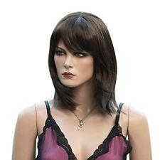 Perruques et toupets cheveux synthétiques bruns moyens pour femme