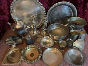 Bulk Lot Of 22+ Old SilverPlated Items Metal Arts & Crafts Repurposing UpCycling