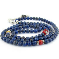 Blue Lapis Lazuli Gem Tibet Buddhist 108 Prayer Beads Mala Necklace