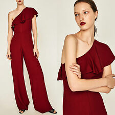 ZARA MARRON/RED LONG JUMPSUIT WITH AN ASYMMETRIC FRILLED NECKLINE SIZE XS