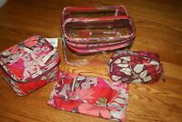 Vera Bradley TRAVEL COSMETIC SET ORGANIZER 4 PC  large case bag clear tote