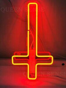 New Upside Jesus Cross Neon Sign Light Lamp Glass Tube Bright Wall Hanging Bar