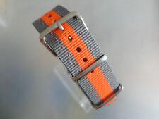 Uhrenarmband Nylon grau orange 20 mm NATO BAND Dornschließe Textil Ziernähte