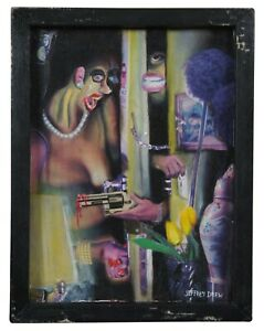 """1996 Jeffrey Drew """"Hold Up in Apt 3A"""" Mixed Media Collage & Oil on Board 13"""""""