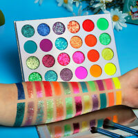 24 Colors Matte Sequins Glow Eye Shadow Pigment Fluorescent Eyeshadow Palette=.=