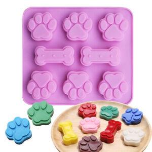 Silicone Bone 6 Cat dog Paws Chocolate Mould Ice Cube Freezer Candy Cookie Mold