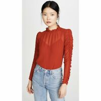NEW See by Chloé Ruffle Neck Ruched Gathered Blouse Earthy Red Puff Shoulder 4
