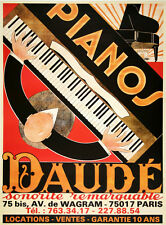 Original Vintage Poster Pianos Daude c1975 Art Deco Music French