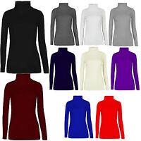 Women Ladies Turtle Polo Roll Neck Long Sleeve Plain T Shirt Jumper Top Stretch