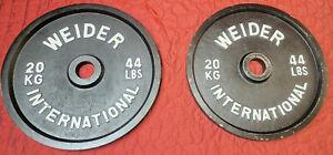 "Lot of 2 WEIDER INTERNATIONAL Black Plates 44 LBS Each Total 88 (20 kg) 40 kg 2"""