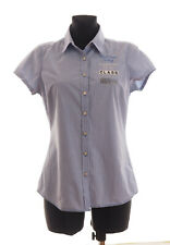 GAASTRA Women's White&Blue checked short sleeved Shirt Size Medium