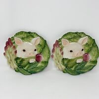 Fitz & Floyd Classics French Market Pig Veggies Pair of Plates Snack Dish 7.5""