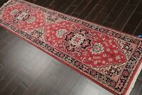 "2'7"" x 9'8"" Hand Knotted 100% Wool Romanian Herizz Oriental Area Rug Rose Runner"