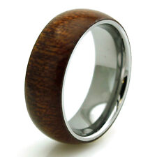 Stainless Steel Mahogany Wood Overlay Engravable Mens Wedding Band Ring 8MM