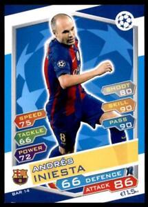 Match Attax Champions League 16/17 Andrés Iniesta Barcelona No. FCB14