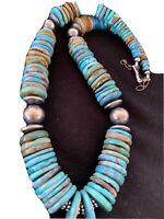 """Native American Navajo Blue Green Turquoise Sterling Silver Necklace 20"""" 1143"""