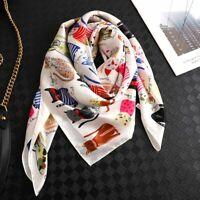 Women Fashion Square Scarf Cat Print Silk Scarves and Wrap Ladies Retro