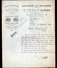 "PARIS (III°) MENUISERIE D'ART / MEUBLES en ACAJOU & CHENE ""J. TETAZ"" en 1919"