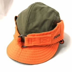 FILSON WAXED TIN CLOTH WILDFOWL HUNTING HAT CAP OLIVE/ORANGE L USA MADE NWOT