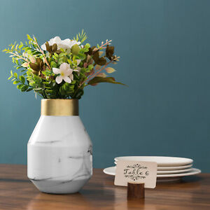 MyGift 8 Inch White Marble Pattern Ceramic Tabletop Flower Vase with Gold Rim