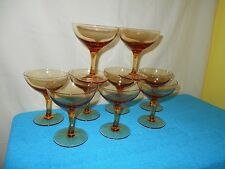Huge Set Lot of 9 AMBER BROWN GOLD Sherbet Champagne Dessert Glasses Glass MINT