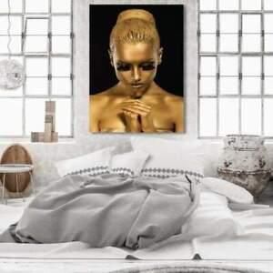 Bild   Leinwand   Deko   XXL   Wohnzimmer   Schlafzimmer   Flur   Frau   Gold