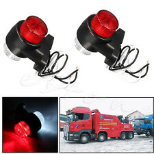 2x 10-30V 8 LED Lamp Lorry Caravan Side Marker Red & White Trailer Truck Light